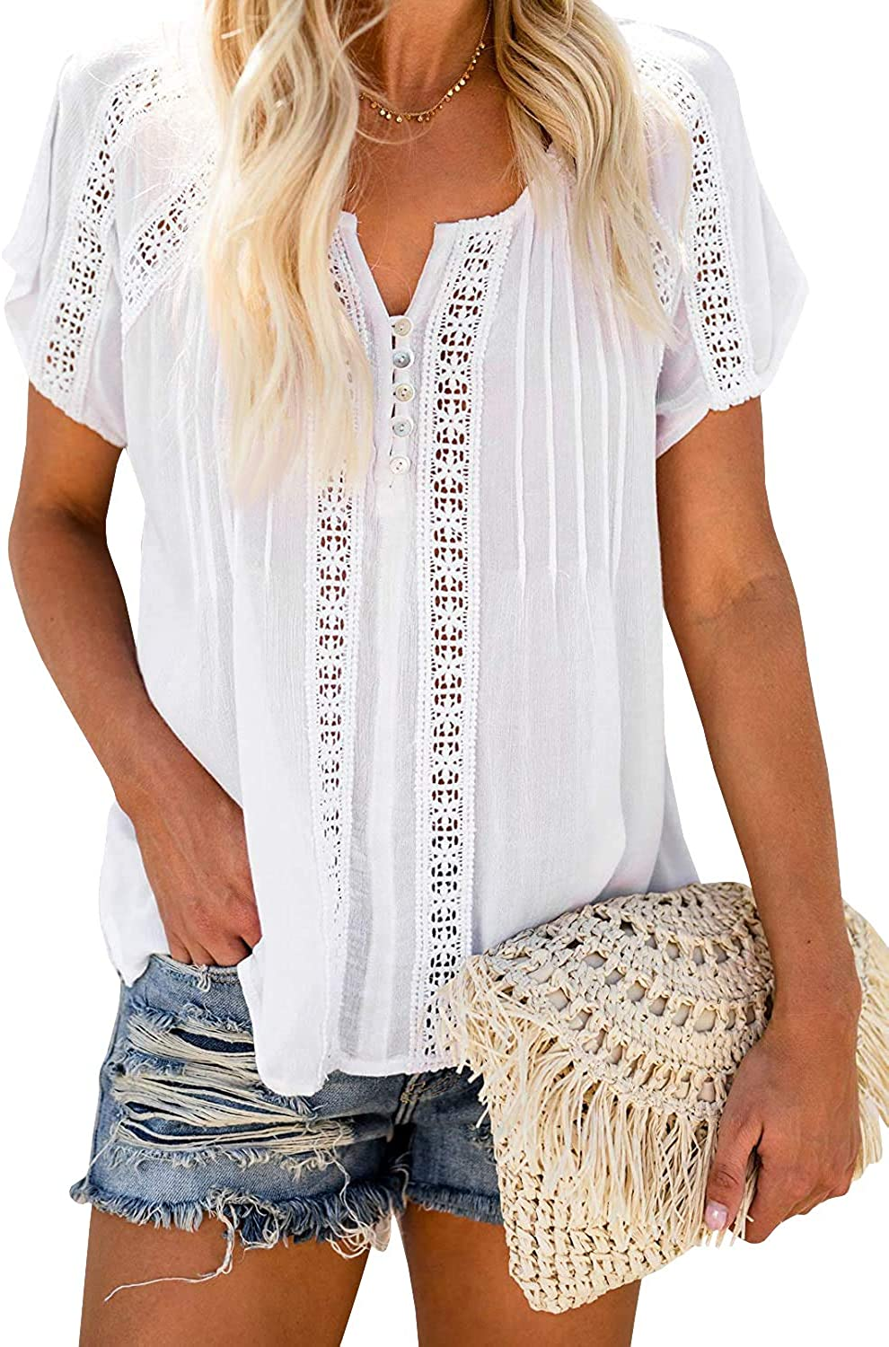 Yousify Wonens V Neck Lace Tops Casual Short Sleeve Button Down Hollow Out Blouse Shirts