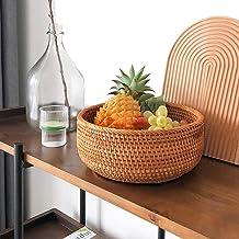MAHFEI Round Woven Bread Roll Basket, Handwoven Rattan Fruit Basket Pastoral Style Snack Storage Basket Fruits Bowl Contai...