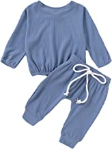 Infant Baby Girl Boy Sleepwear Toddler Outfits Infant Girls Clothes Knitted Top Pants Set Pajama Solid Color(Blue,0-3Months)