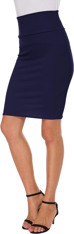 Sinono Womens High Waist Stretch Bodycon Office Pencil Skirt