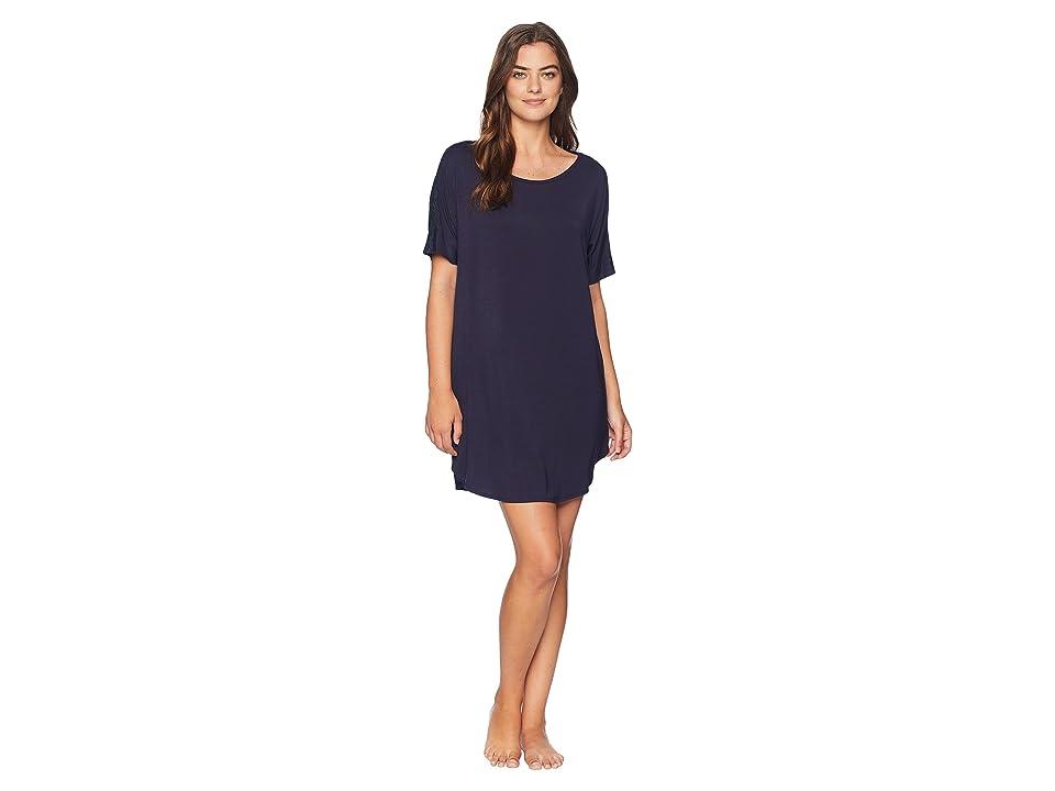Natori Feathers Essentials Sleepshirt with Lace (Night Blue) Women