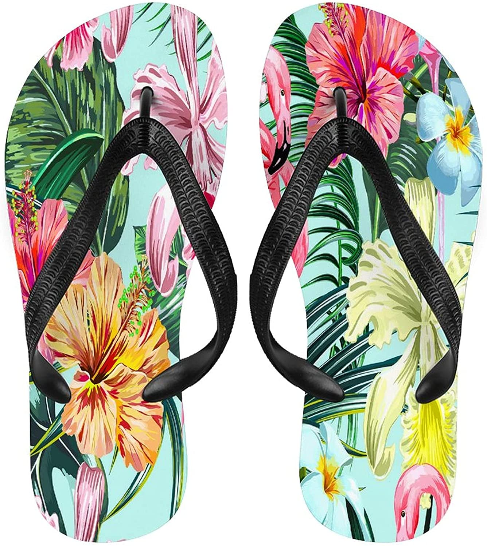Wozukia Pink Flamingos Flip Flops for Men Women Tropical Exotic Flowers Palm Leaves Jungle Leaf Hibiscus Orchid Flower Botanical in Hawaiian Style Summer Beach Sandal Outdoor Footwear S