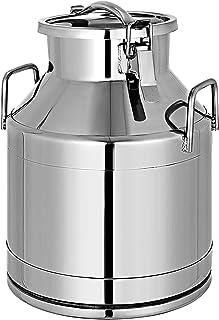 VEVR Bidon à Lait INOX 20L Seau en Acier Inoxydable Épaisseur 1 mm Bidon Huile avec Couvercle Hermétique Récipient Pot à L...