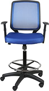 eclife Office Chair Blue Ergonomic Mesh Support Computer Chair Comfort Adjustable Tall Standing Swivel Chair with Foot Rest, Bar Chair, Armchair Fabric Seat OF-A03BN (Blue)