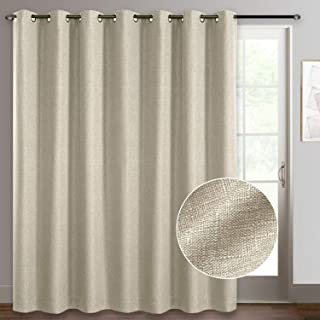 Rose Home Fashion Linen Textured Patio Door Curtains, Sliding Door Curtains, 100% Blackout Curtains Grommet Curtains, Extr...