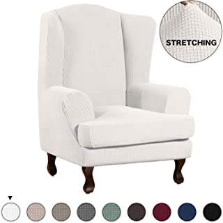Turquoize Wing Chair Slipcover Wingback Armchair Chair Slipcovers Sofa Covers 2-Piece Spandex Fabric Wing Back Wingback Armchair Chair Slipcovers(Wing Chair, Ivory)
