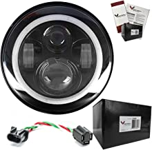 Eagle Lights 7 inch LED Headlight with Halo Ring for Harley Davidson and all Motorcycles with 7 inch Headlight (Black)