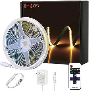 CP3 Bande LED COB blanc froid 5000K, intensité variable, 12V, flexible, avec télécommande RF et bloc d'alimentation, CRI 8...
