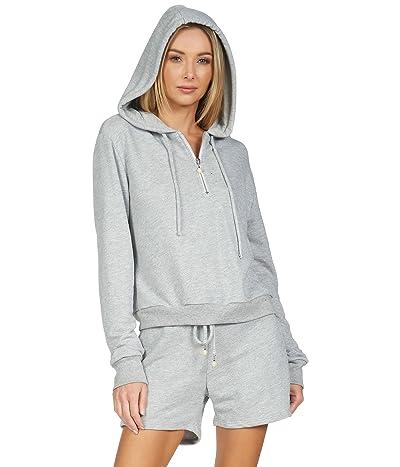 Michael Lauren Albus Crop Pullover Zip Top Terry Sweatshirt with Hood