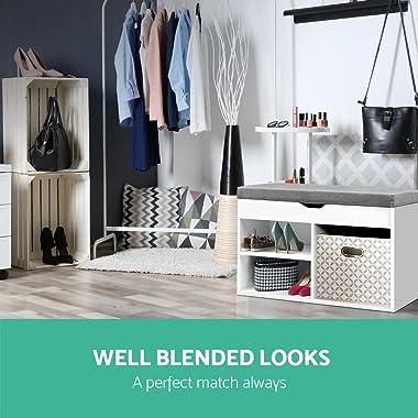 Artiss 9 Pairs Wooden Fabric Shoe Bench, White