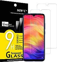 NEW'C 2 Unidades, Protector de Pantalla para Xiaomi Redmi Note 7, Redmi Note 7 Pro, Antiarañazos, Antihuellas, Sin Burbujas, Dureza 9H, 0.33 mm Ultra Transparente, Vidrio Templado Ultra Resistente