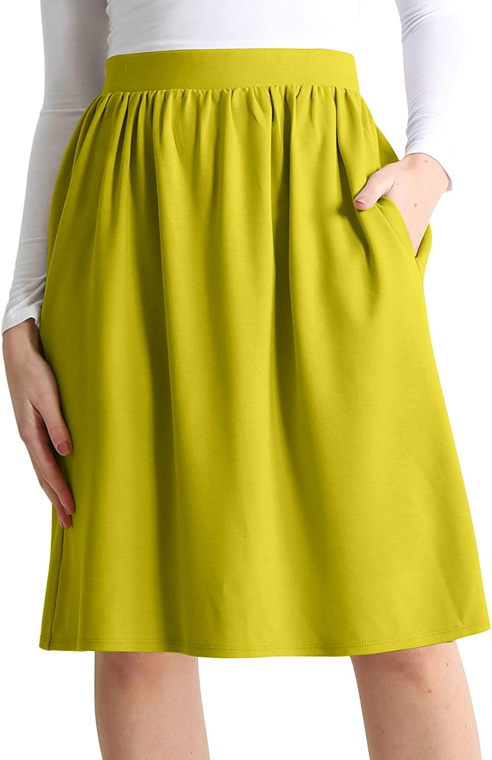 Simlu Womens Knee Length Flare A-Line Skirt with Side Pockets Regular and Plus Size - Made in USA