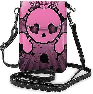 Women Small Cell Phone Purse Crossbody,Cute Skull Illustration With Crown Dark Grunge Style Teen Spooky Halloween Print