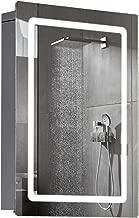 "HOMCOM 30"" LED Illuminated Wall Mirror Medicine Cabinet Bathroom Sliding Door Vertical Stainess Steel"
