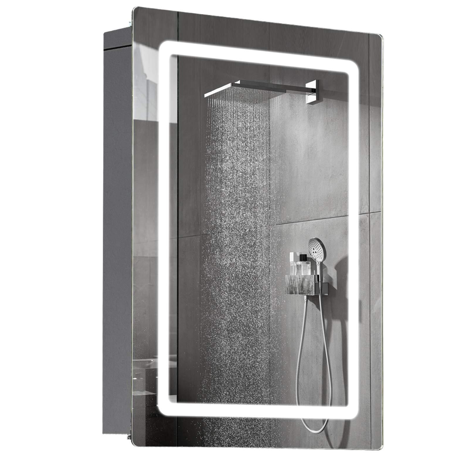 "HOMCOM LED Wall Mount Bathroom Vanity Make Up Mirror w/Defogger - 36"" x 28"""