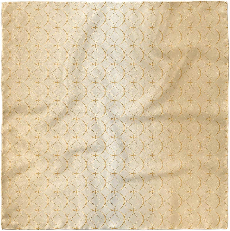 Ambesonne Beige Head Scarf, Geometric Gold Patterns, Hair Wrap