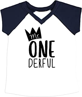 Mr One-Derful Baseball Tee Shirt for Boys 1st Birthday Shirt
