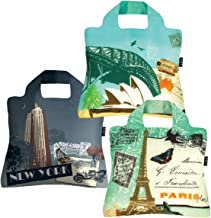 Reusable Grocery Bags- Set of 3 Traveller Envirosax - Foldable Quality Shopping Tote Bag. Eco-Friendly, Waterproof/Machine Washable. For Travel Shopping, Arts Crafts Multi Use