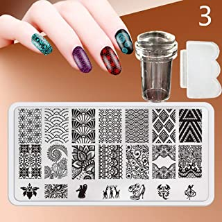 Zmond - New 12X6cm 44 Style Nail Stamping Plates Set Made Stencils Lace Flower DIY Nail Art Templates+Transparent Stamper Stamp Scraper [ 3 ]