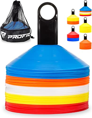 Pro Disc Cones (Set of 50) - Agility Soccer Cones with Carry Bag and Holder for Training, Football, Kids, Sports, Fie...
