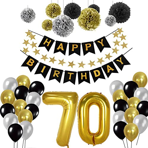 Toupons Birthday Decorations Balloons 70th Party Supplies Sets Happy Banner Bunting For