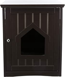 Wooden Litter Box Enclosure with Top Storage Shelf, for Standard Size Litter Box, Brown