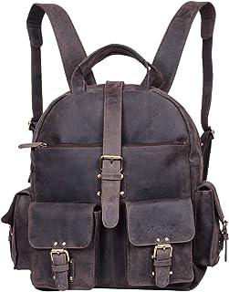 "STILORD ""Nevada"" Rucksack Leder groß im Vintage Design mit 13,3 Zoll Laptopfach Unisex Lederrucksack Uni Schule Lehrer Echtleder, Farbe:dunkel - braun"