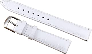 12-22mm White Deluxe Leather Women's Watch Strap Replacements Padded Alligator Grain Genuine Calfskin
