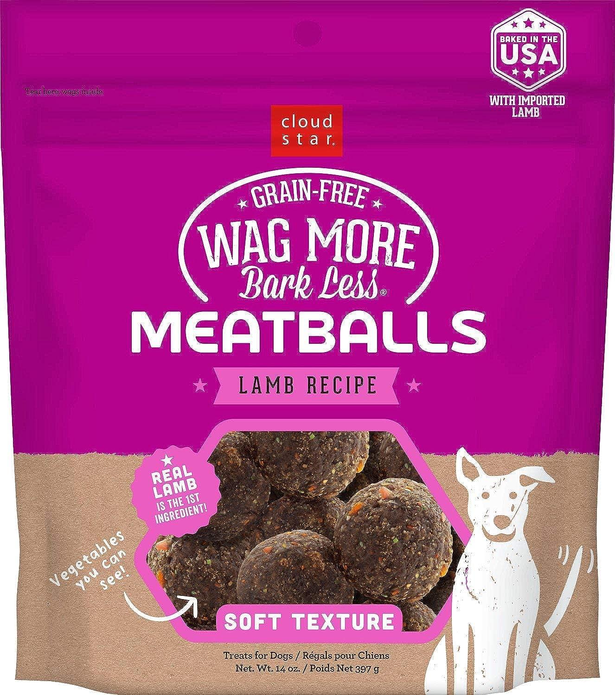 Cloud Star Wag More Bark Less Lamb Recipe Meatballs GrainFree Dog Treats 14 Ounce Bag