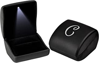 Andrew Family Black Monogram Jewelry Gift Boxes Case with LED Light for Ring Earring Pendant, Initial- C