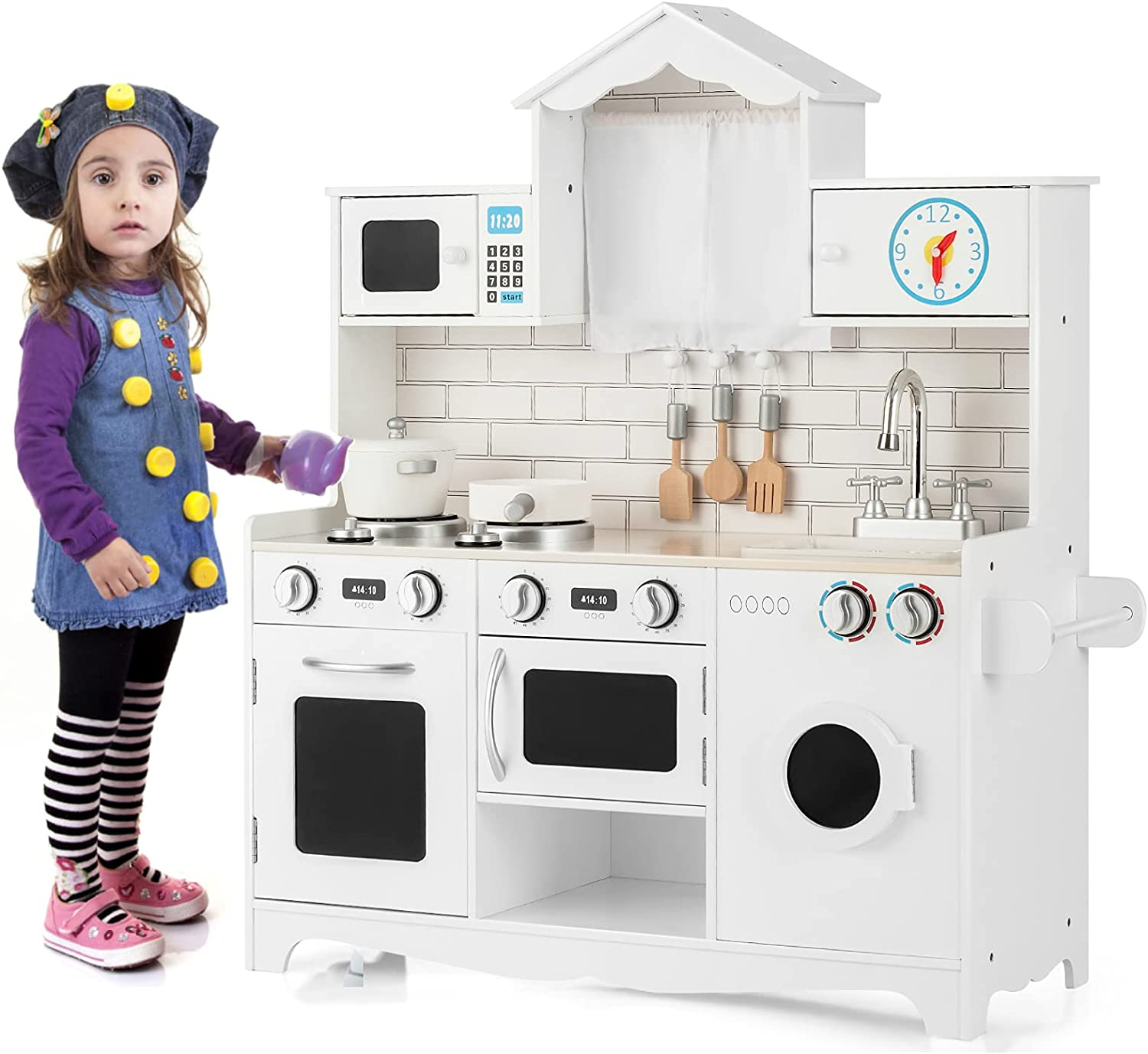 HONEY Max 88% OFF JOY Play Kitchen for Kitc Pretend Fresno Mall Toddlers Wooden Rooftop