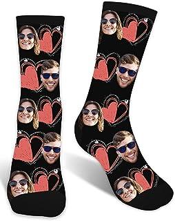 Zhovee, Calcetines personalizados para parejas, calcetines personalizados para el día de San Valentín, calcetines con imagen para hombres y mujeres