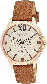 ساعة كوارتز من كاسيو للنساء، نوع العرض انالوج ومزودة بسوار جلدي SHE-3056PGL-7AUDF