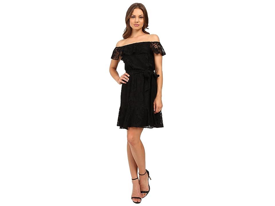 Jessica Simpson Lace Off the Shoulder Dress JS6D8622 (Black) Women