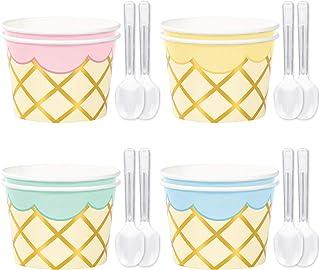 Ice Cream Party Supplies - Deluxe Metallic Gold Treat Cups & Mini Plastic Spoon Set