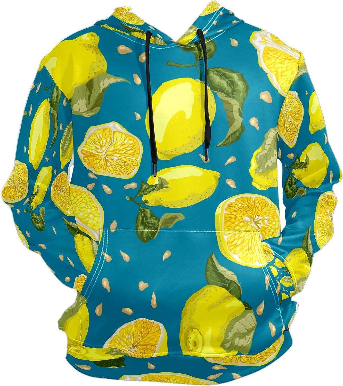 Men's Sport Hoodie Summer Lemon Fruit Yellow Blue Big and Tall Hoodies for Men Women Oversized Hooded Sweatshirt Hip Hop Pullover Hoodie Midweight Hood for Boys Girls