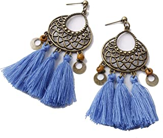 MAXSNOW Women's Girls Elegant Jewellery Handmade Bohemia Ethnic Tassels Dangle Stud Earrings Eardrop
