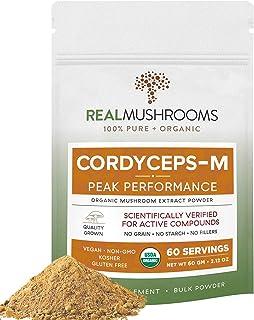 Real Mushrooms Cordyceps Peak Performance Supplement for Energy, Stamina & Endurance | Non-GMO, Vegan, Orga...