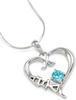 The Collegiate Standard Alpha Xi Delta Sorority Sterling Silver Heart Pendant with CZ Light Blue Crystal
