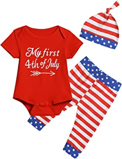 Truly One Baby Toddler Boys My First 4th July Outfits Independence Day Pants Sets with Hat