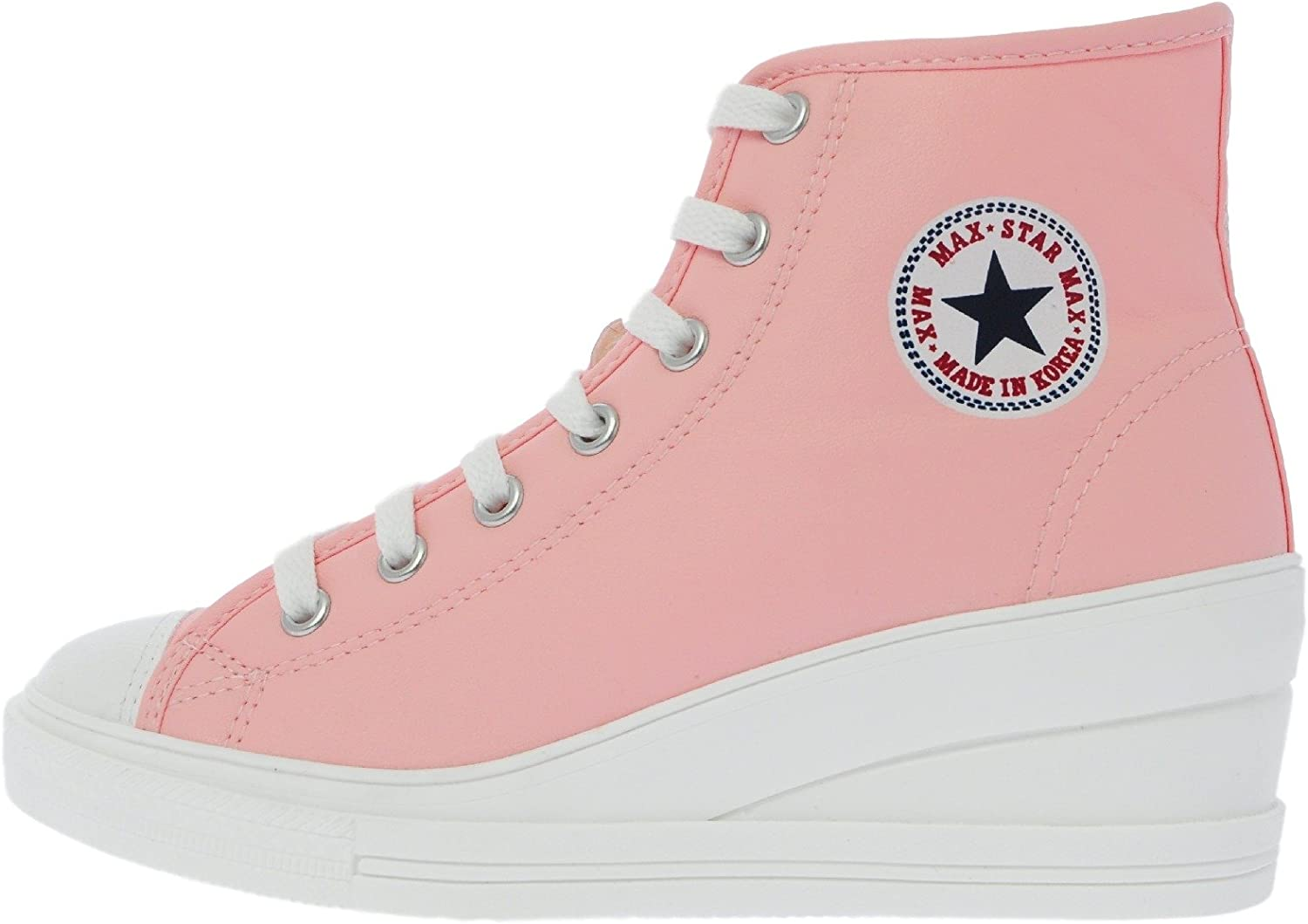 Maxstar 7H 7 Holes Synthetic Leather Side Zipper White Platform High Top Sneakers