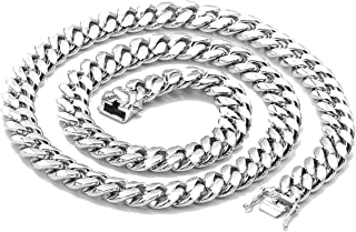 White Gold Cuban Link Chain Necklace for Men Real 14MM 14K Karat Diamond Cut Heavy w Solid Thick Clasp US Made