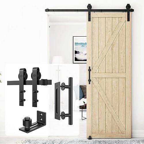 Homlux 5ft Heavy Duty Sturdy Sliding Barn Door Hardware Kit Single Door Whole Set Include 1x Round Door Handle, 1x Fl...