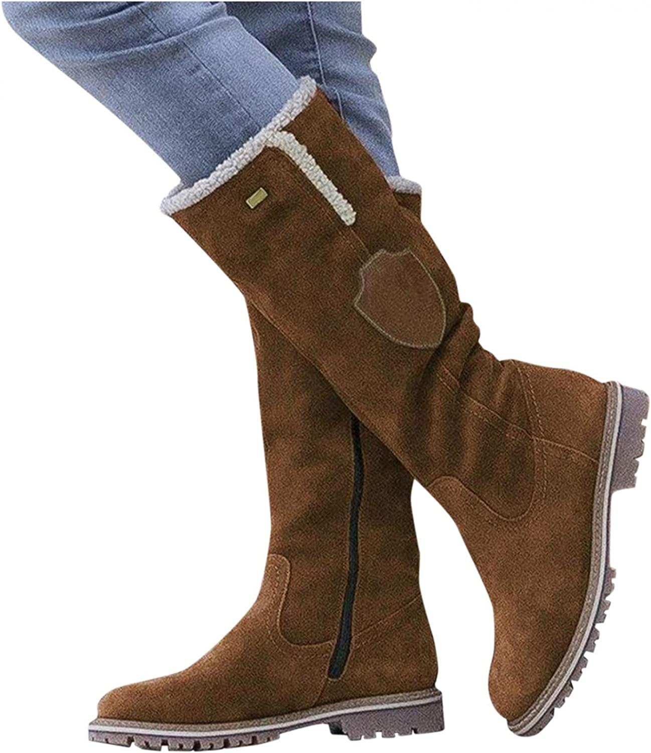 Masbird Snow Boots for Women Knee High Cold Weather Snow Boots Zipper Platfrom Boots Comfortable Cowboy Booties