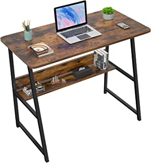 """Computer Desks for Home Office 32"""" Modern Sturdy Writing Desk with Bookshelf Study Table Desk with Metal Legs Industrial T..."""