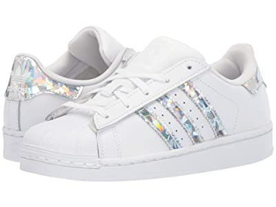 adidas Originals Kids Superstar C (Little Kid) (White/Silver) Girls Shoes