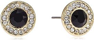 Mestige Black Mandala Earrings With Swarovski Crystal Stones For Women - Gold