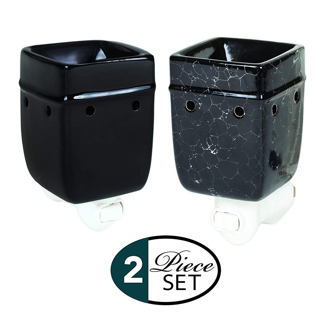 Elanze Designs Glossy Black and Marbled Ceramic Stoneware Electric Plug-in Outlet Wax Oil Warmer Set of 2