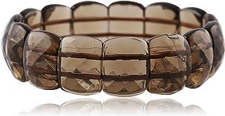 DHYANARSH SMOKY AVENTURINE الحجر الطبيعي في سوار أنيق من الألماس المسطح للرجال والنساء (004BRACSMOKEY)