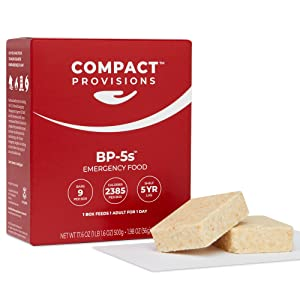 Compact Provisions BP-5s Emergency Food Supply - 3-Pack - Non-Perishable Survival Rations for Disaster Preparedness & Disaster Kits - 2385 Calories, 72g Protein Per Box - 9 bars/box